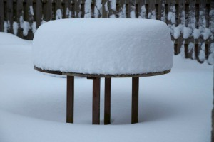 Snowy table