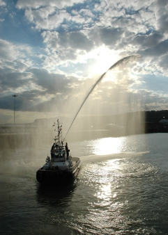 Salute from a tug