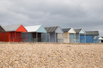 Beach huts at Calshot